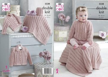 King Cole 5238, DK Knitting Pattern Baby Cardigans , Blanket & Hat